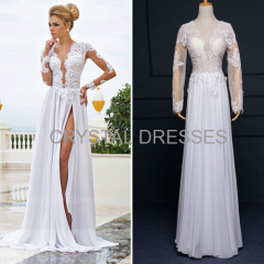 ALBIZIA Exquisite White Scoop Lace Chiffon Split A Line Sheath Floor length Wedding Dresses