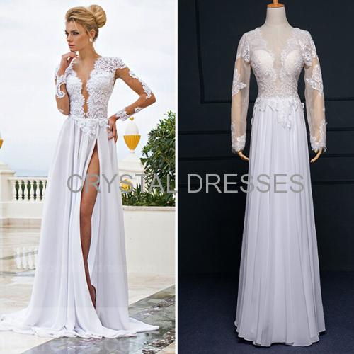 ALBIZIA Exquisite White Scoop Lace Chiffon Split A Line Sheath Floor length Wedding Dresses