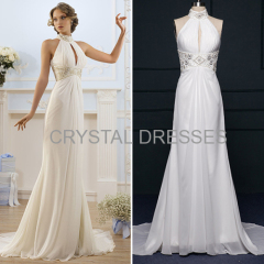ALBIZIA Simple High Collar Beading Chiffon Beading Halter Sweep/Brush Wedding Mermaid Dresses