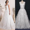 ALBIZIA Fashion Ivory Lace Tulle Keyhole Back A Line Court Train Wedding Dresses