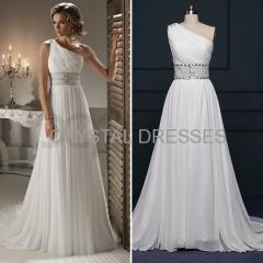 ALBIZIA Fashion White Beading Pleated Chiffon One-Shoulder A Line beach Wedding Dresses