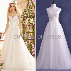 ALBIZIA beautiful White Concise Tulle Bateau Embroidery A-Line Tulle Wedding Dresses uk