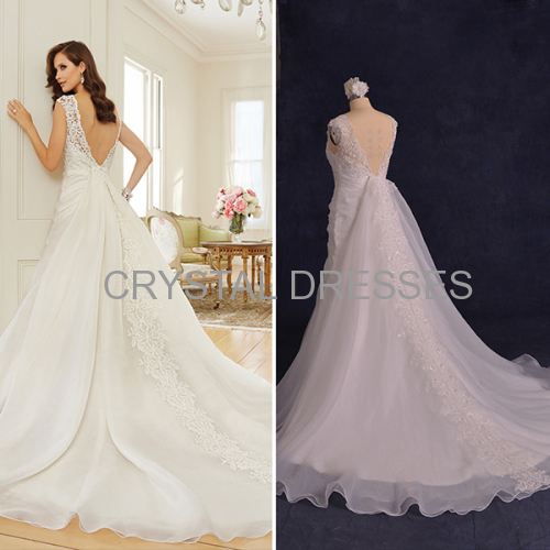 ALBIZIA Matching Pleated Sequin Lace Organza Detachable Train Sweep/Brush Wedding Dresses