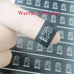 China best ultra destructible label paper manufacturer custom rectangle 1cmX1.5cm warranty label for repairing use