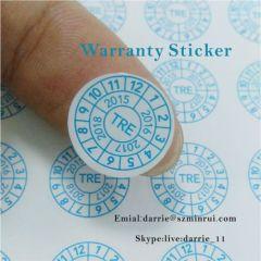 China top self-adhesive destructible label manufacturer custom round 11mm diameter warranty screw label for phone