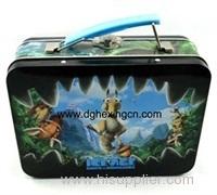Handle tin lunch box metal game storage box