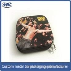 Square cd tin storage box with zipper