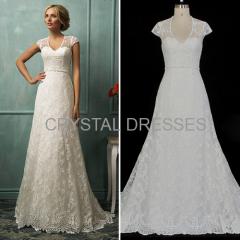 ALBIZIA Retro 2016 Crystal Sash Lace Tulle A-Line Sweep/Brush Wedding Dresses