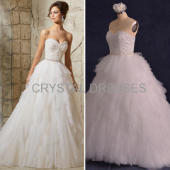 ALBIZIA 2016 Beading Tulle Lace modest Ball Gown Sweep/Brush Wedding Dresses