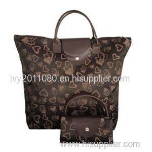 Leather Handle Nylon Shopping Bags