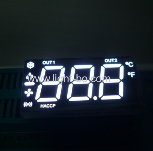 Customized Ultra white 3 1/2 digit 7 segment led display for instrument panel