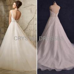 ALBIZIA Beading V-neck Sequin Organza Ball Gown A Line Sweep/Brush Wedding Dresses