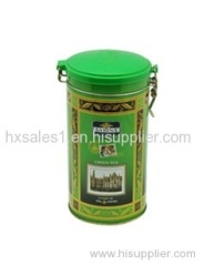 Round plastic lid tea tin box with clip