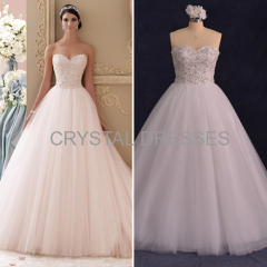 Albizia Gorgeous Ivory Beading Tulle Ball Gown informal Sweetheart A Line Wedding Dresses