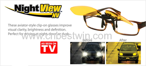 2015 Brand New Night View Anti Glare Night Driving Glasses Clip On Night Vision Glasses As