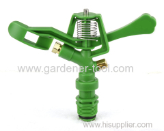 lawn water irrigation sprinkler with double opposed nozzle