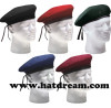 100% wool adjustable military unisex beret hat with embroidery pattern logo