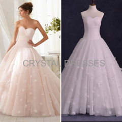 ALBIZIA 2016 Sweet Pleated Handmade Flowers Tulle Ball Gown A-line Wedding Dresses