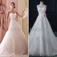 ALBIZIA sparkle White Pleated Lace Applique Tulle Ball Gown Cathedral Wedding Dresses