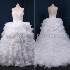 ALBIZIA White Beads Ruffles Scoop Lace Layered A Line Ball Gown Organza Contoured Wedding Dresses