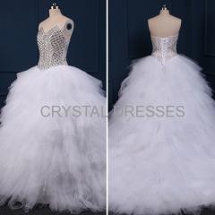 ALBIZIA Gorgeous Beading Fluffy Skirt Sweetheart Crystal Tulle Ball Gown Layered Sweep/Brush Bridal Wedding Dress