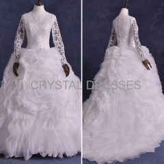 ALBIZIA Gorgeous Embroidery Beading Organza Ball Gown Contoured Court Wedding Dresses