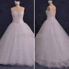 ALBIZIA Gorgeous Beading Tulle A Line Ball Gown Rhinestone\Crystal Watteau Wedding Dresses