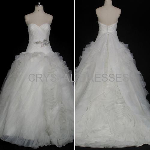 ALBIZIA Intricate Pleated Ivory Sweetheart Organza Fluffy Skirt Ball Gown Fold\Ruffle Wedding Dresses