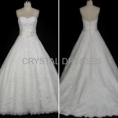 ALBIZIA Classic Ivory Lace Satin A Line Ball Gown Monarch/Royal Wholesale Wedding Dresses