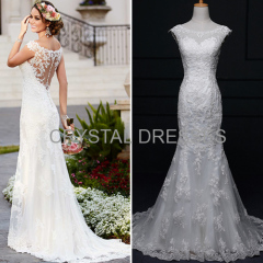 ALBIZIA Fashion Ivory Scoop Lace Tulle Satin allure Mermaid Wedding Dresses