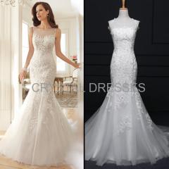 ALBIZIA high quality Beads Ivory Lace Tulle Satin vintage Mermaid Wedding Dresses