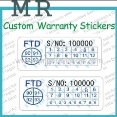High Quality Custom Brittle Tamper Evident Sticker Ultra Destructible Vinyl Security Label Date Warranty Sticker