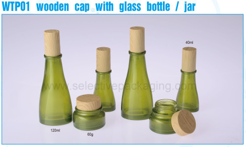 Glass Containers olive-green cream jar and lotion bottles