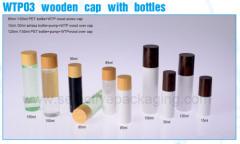 Water transfer bamboo cap PET lotion bottle