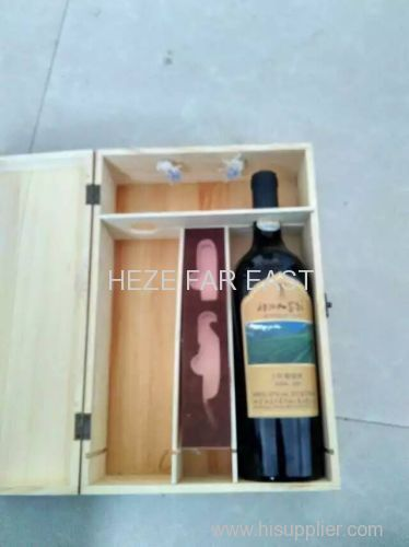 wooden wine box / wooden wine crate with rope or belt