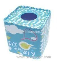 Square tin tissue box