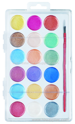 Pearl Watercolor Set 18 colors with Plastic Brush