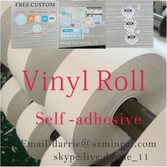China largest factory of self adhesive vinyl hotsale security printed destructible vinyl roll/Permanent egg shell roll