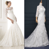 ALBIZIA Exquisite Ivory Lace Applique Tulle modest Wedding Mermaid Dresses