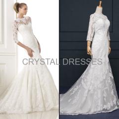 ALBIZIA Exquisite Ivory Lace Applique Tulle modest Wedding Mermaid Dresses