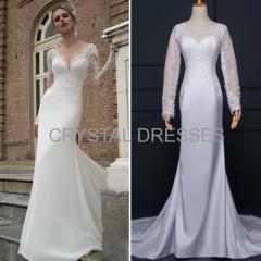 ALBIZIA simple 2016 New White Satin Lace Sweep/Brush Mermaid Wedding Dresses