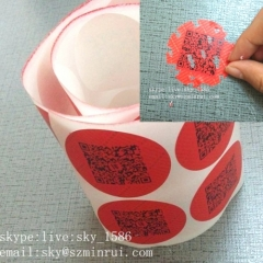 Dia 30mm Red Round Security Destructible QR Code Stickers Label Strong Adhesive Code Sticker from Factory