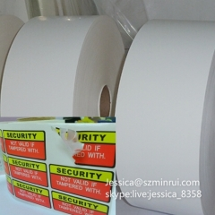 China Supply Matte White Surface Anti-counterfeit Material Self Adhesive Destructible Vinyl Label Paper In Rolls