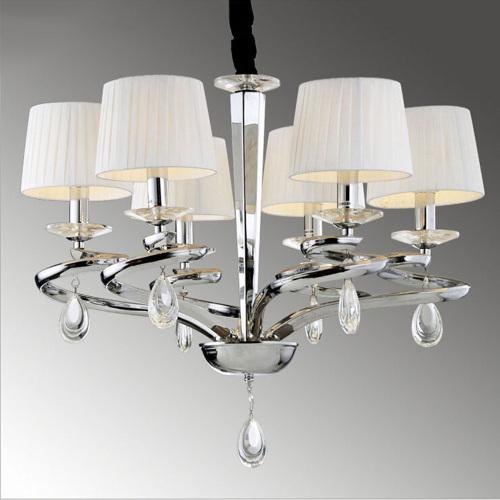modern living room metals fabric lamp shade crystal pendant lighting