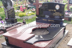 Black and Red Granite Tombstone with Cross