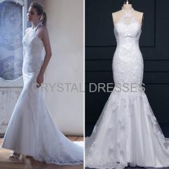 ALBIZIA 2016 Halter Satin Lace Applique Watteau informal Mermaid Wedding Dresses