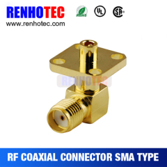 Right Angle 4 Hole Flanges SMA Jack Connector
