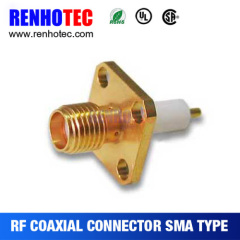 RF SMA Female Solder Flange 4 Hole Connector