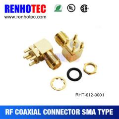 Right Angle SMA Female to PCB Crimp Connector