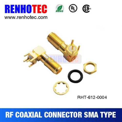 Right Angle SMA Jack For PCB Receptacle Connector